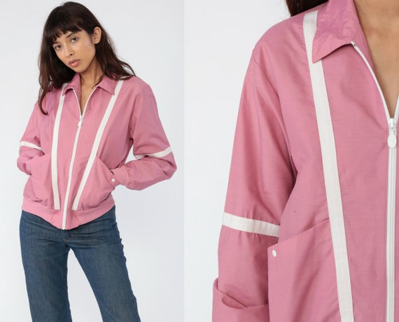 Pink Windbreaker Cafe Racer Jacket 80s Pink STRIPED Bomber Jacket White Trim Collared Zip Up Jacket Windbreaker Vintage Solid Mauve Small