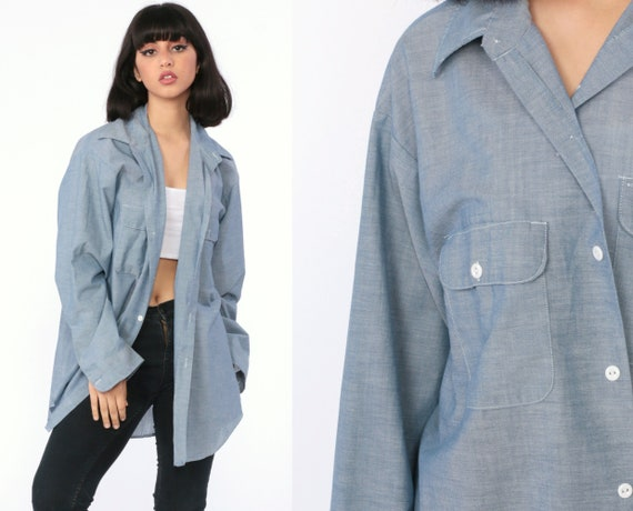 Big Mac Chambray Shirt 70s Shirt Blue Workwear Button Up Denim Cotton 1970s Long Sleeve Vintage Work Wear Plain Men's Large xl