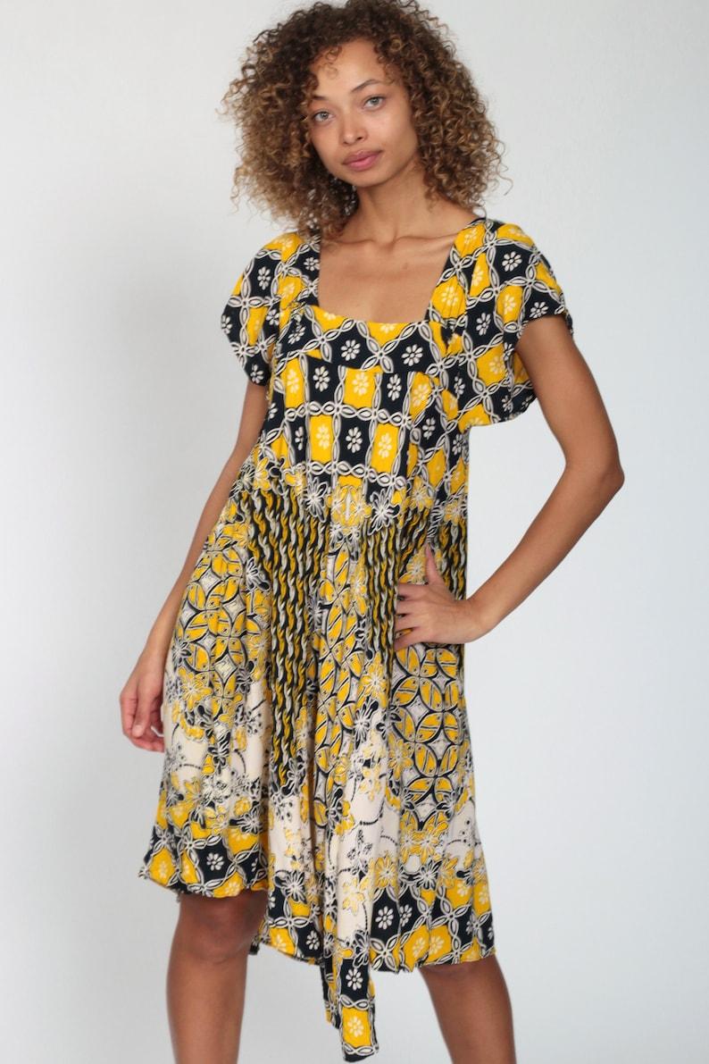 Batik Dress Boho Hippie Dress 80s Midi FLORAL Tent Caftan Dress Yellow Beach Festival Bohemian Dress 1980s Vintage Indonesian Extra Small xs
