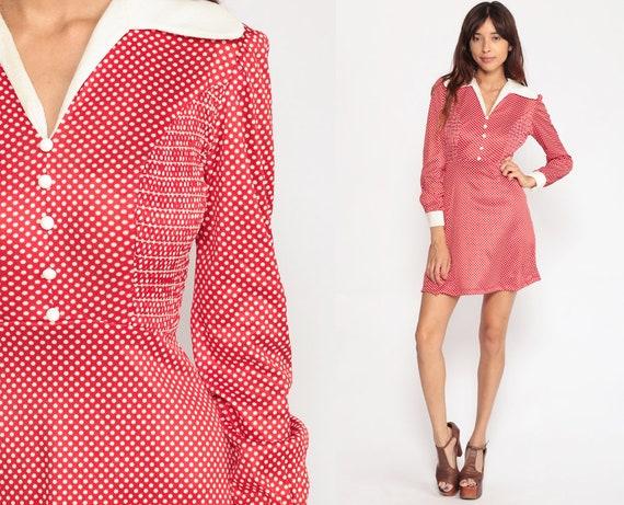 60s Babydoll Dress Mod Mini PUFF SLEEVE Dress 70s Vintage Red Polka Dot Dress LOLITA Dolly Smocked Empire Waist Extra Small xs Small