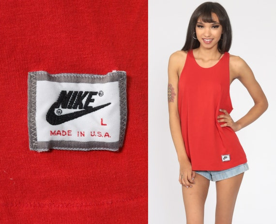 Nike Shirt 80s Tank Top Athletic Shirt Sports Tee Sporty Red Running Singlet Retro Vintage 90s Retro Medium