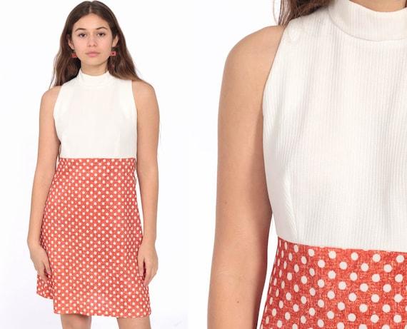 Babydoll Dress 60s Mod Mini POLKA DOT Dress Red-Orange White Empire Waist 70s Vintage Gogo Sixties Twiggy Sleeveless High Neck Small