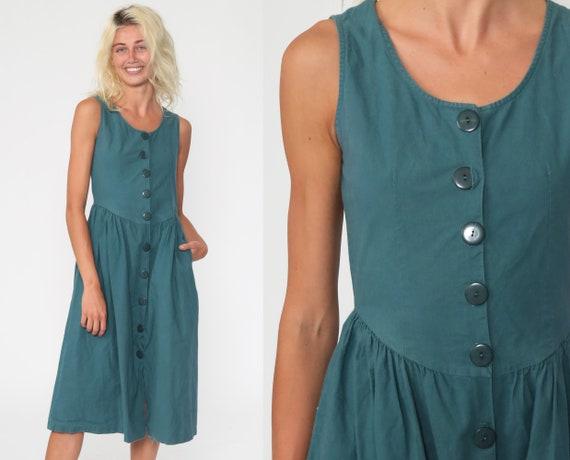 Blue-Green Dress Button Up Dress Jumper Pocket Sundress 80s Summer Dress Boho Sun Midi Dress 1980s Cotton Plain Sleeveless Extra Small xs
