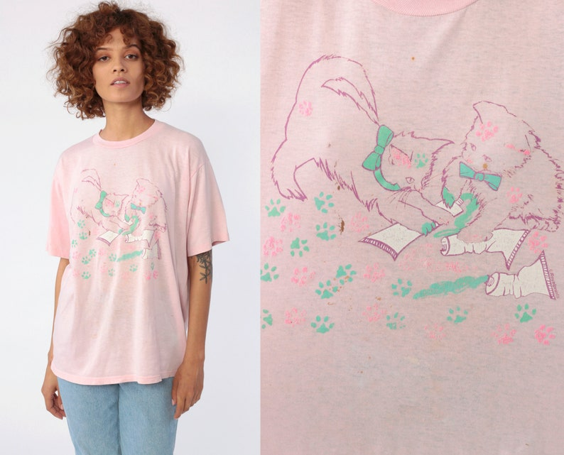 93f7ca697e1 Cat Shirt Kitten Tshirt KITTEN Animal Top 80s Graphic Pink Green Kawaii  Distressed Screen Print Tee Retro 1980s Vintage Tee T Shirt Large