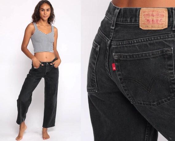 Black Levi Jeans 29 550 Levis Mom Jeans High Waist Jeans 80s Jeans Black Denim Pants 550 Vintage Hipster Tapered 90s Medium 8 29