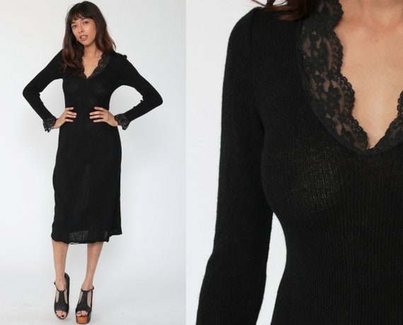 Black Knit Dress 80s Midi Lace Trim Sheath Sweater Dress Rayon Acrylic Italian Dress Long Sleeve Vintage 80s Plain Simple Extra Small xs