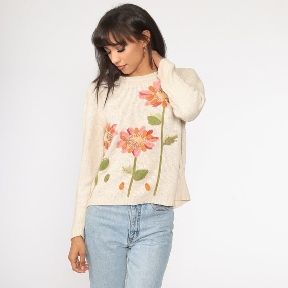 90/'s Pullover with flower embroidery in size Large Vintage pink melange sweater for women
