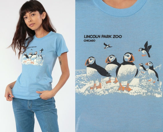 Puffin Bird Shirt Lincoln Park Zoo Chicago Tshirt 80s Screen Stars Animal T Shirt Graphic Retro Tshirt Print 1980s Baby Blue Extra Small xs