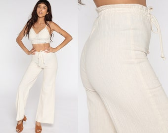 Cream Bell Bottoms Pants 70s Boho Hippie Crinkled Cotton Bellbottom High Waisted 1970s Vintage Bohemian Trousers High Rise Small S