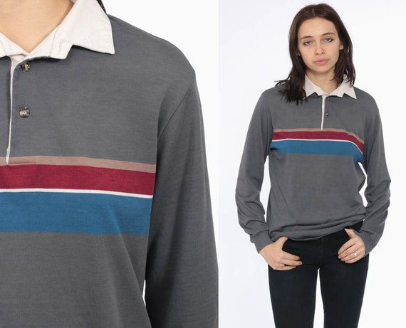 90s Long Sleeve Striped Polo Shirt Striped 1990s Gray Blue Preppy Top Button Up Collared 1980s Burgundy White Collar Vintage Extra Small xs