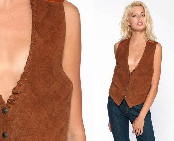 70s Suede Vest Men's Vest 70s Boho Suede Leather Vest Brown Southwestern 1970s Bohemian Vintage Small