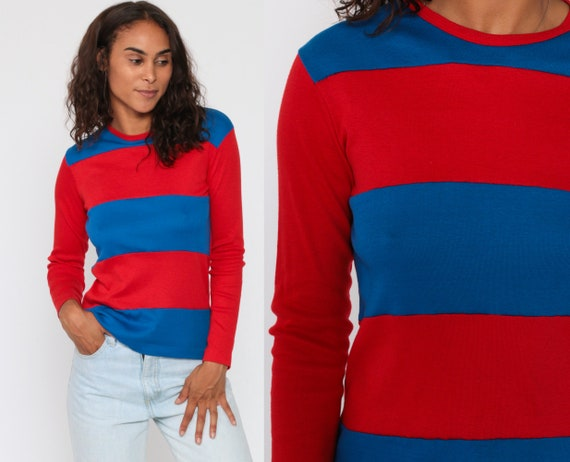 Long Sleeve STRIPED Shirt 80s T Shirt Red Striped Shirt Ringer Blue Color Block Retro 1980s Vintage Casual Simple Small