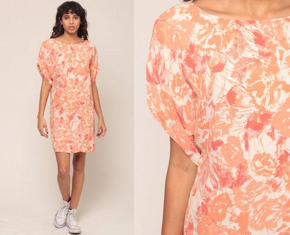 Floral Tshirt Dress Vintage Micro Mini Dress Flower Print Tee Shirt 90s Tunic Top Grunge T Shirt Orange 1990s Medium