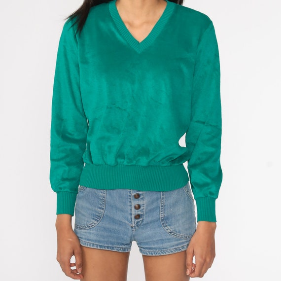 Green Velour Sweater Retro Sweatshirt V NECK Long… - image 5