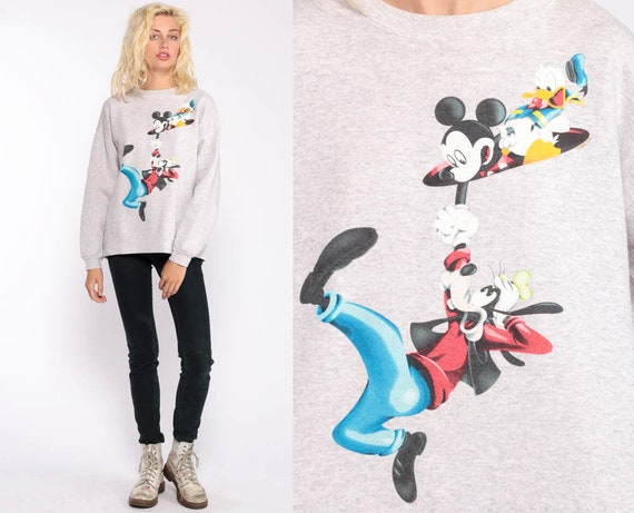 Walt Disney Sweatshirt Mickey Mouse Sweater GOOFY Shirt Donald Duck 80s Shirt Heather Grey Cartoon 90s Vintage Hipster Retro Medium Large