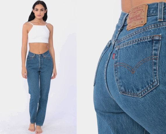 Levis 501 Jeans xs -- Mom Jeans Denim Jeans 90s Denim Jeans Button Fly Levi Strauss Blue Tapered Slim Denim 1990s Vintage Extra Small xs 2
