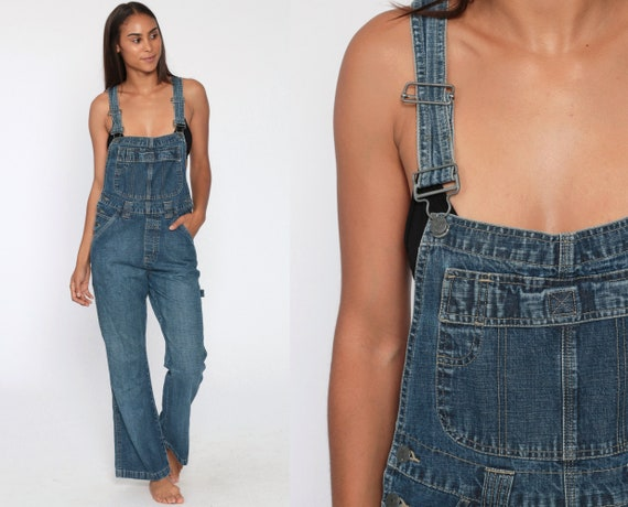Flared Denim Overalls Pants Women 90s Dungarees Bell Bottom 00s Long Jean Pants 1990s Vintage Bib Overall Small