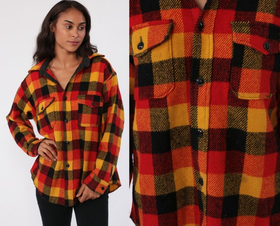 Wool Flannel Shirt Yellow Red Plaid 80s Grunge Long Sleeve Button Up 1980s Vintage Lumberjack Retro Vintage Collared Long Sleeve Medium