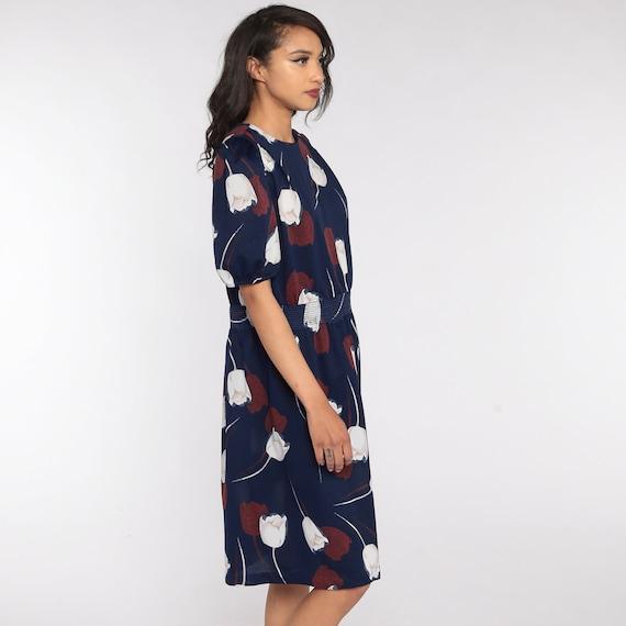 80s Floral Dress Blue Puff Sleeve Dress Tulip Pri… - image 3