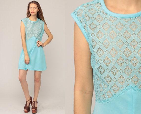 Mod Mini Dress 70s Sheer LACE Dress Twiggy Shift Minidress Go Go Sleeveless Blue Vintage 1970s Gogo Minidress Large