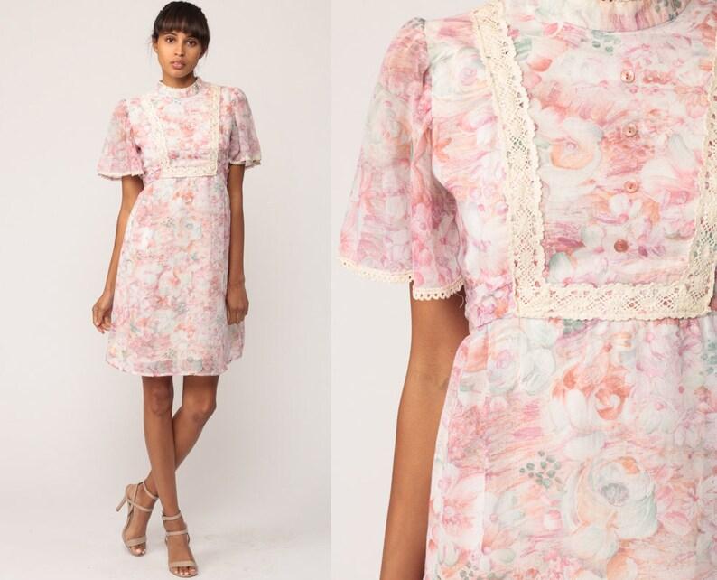 144b4dbb28 Floral Mini Dress 70s Prairie Crochet Lace BIB Boho Babydoll