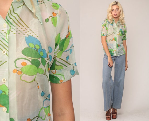 Sheer Floral Shirt Button Up Blouse 70s Boho Top Bohemian Short Sleeve 1970s Vintage Disco Hippie Novelty Print White Green Small