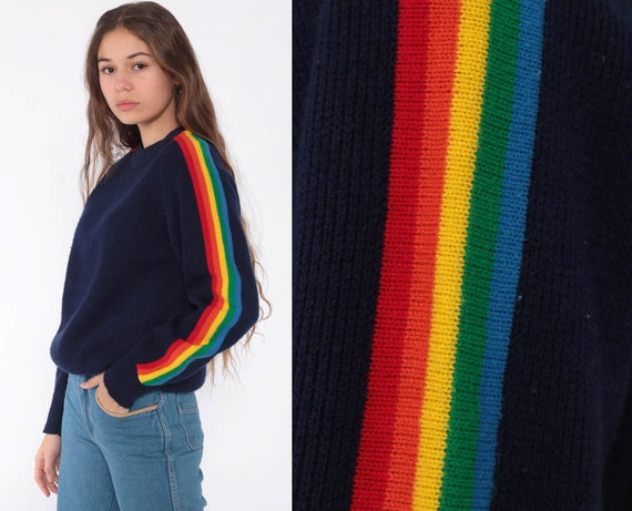 Rainbow Sweater 80s Navy Blue Striped Knit Jumper Pullover Ski Slouchy 1980s Boho Slouch Vintage Retro Bohemian Extra Small xs