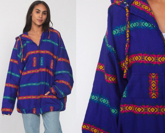Guatemalan Jacket Blue Embroidered HOODIE Jacket Bohemian Anorak Tribal Cotton Coat Boho Aztec Hooded Mexican Zip Up Vintage Extra Large xl