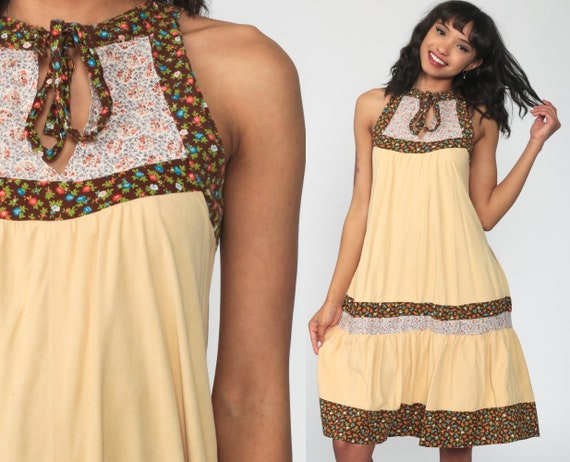 Boho Dress 70s Floral Sun Dress Butter Yellow Bohemian Sundress Midi Vintage Tent Tunic Trapeze Hippie Festival Sleeveless Small