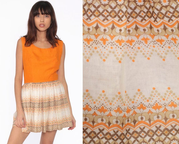 70s Mini Dress Orange Floral Geometric Print Boho Linen Mod High Waisted Vintage 1970s Bohemian Hippie Party Sleeveless Extra Small xs