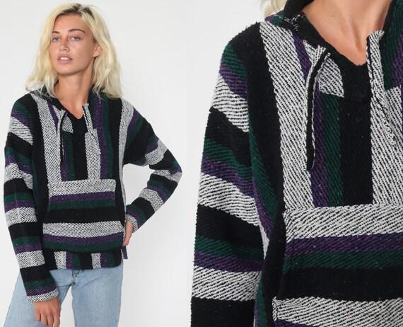 Baja Hoodie Mexican Black Drug Rug Sweatshirt Hippie Boho Hooded Ethnic Vintage Blanket Stripe Bohemian Kangaroo Small Medium