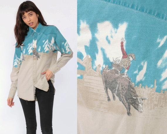 Western Cowboy Shirt 90s PEARL SNAP Rodeo Shirt Button Up Bull Riding Shirt Vintage Long Sleeve Blue Medium