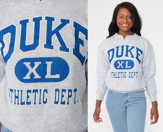 Duke University Sweatshirt Athletic Department Shirt College Crewneck 90s Graphic College Slouchy Sweater 1990s Vintage Grey Small