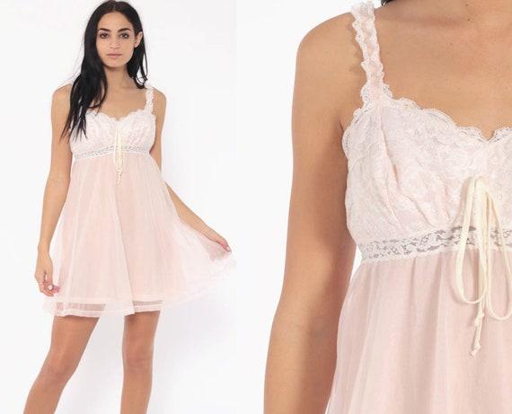 273dfe68b134 Pastel Lingerie Nightgown 38 -- OLGA Pink LACE Babydoll Slip Dress 70s  Nightgown Sheer Mini