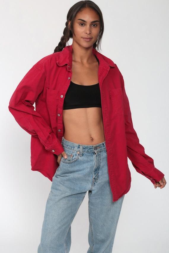 LEVIS Shirt Red 90s Button Down Shirt up Levi Jea… - image 2