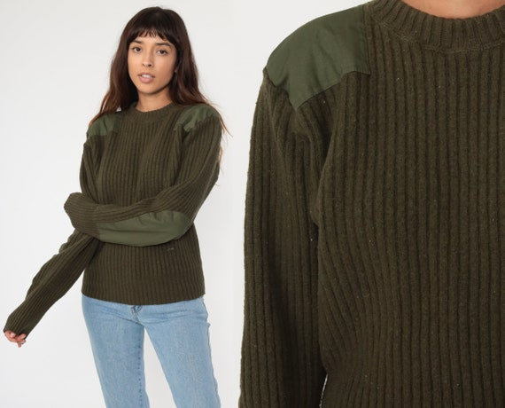 Army Sweater WOOL Military Sweater 80s Camo Olive Drab Green Commando Pullover 1980s Vintage Grunge Elbow Patch Ribbed Small Medium