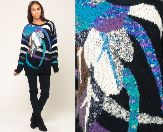 80s Sweater Knit LEAF PRINT Boho Black Purple Slouchy Pullover 90s Vintage Abstract Acrylic Knit Extra Large xl