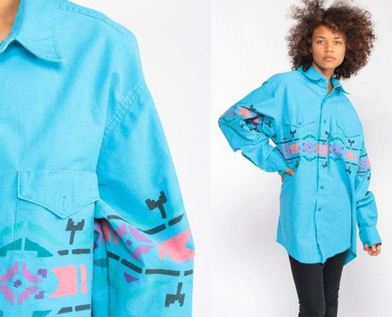 Tribal Shirt Aztec Shirt 90s Southwestern Tribal Print Turquoise Shirt Button Up Long Sleeve 1990s Vintage Grunge Southwest Extra Large xl