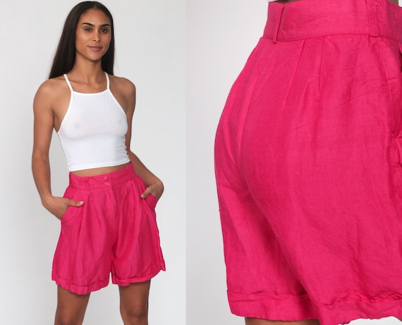 80s Mom Shorts HOT PINK Shorts Retro High Waisted Baggy Cargo Boho 90s Hipster Vintage Pockets Spring High Waist Rayon Ramie Small 26