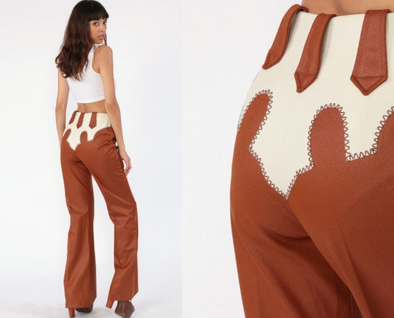 70s Bell Bottoms Pants -- Boho Hippie Bellbottom Western Shiny Brown High Waisted 1970s Vintage Bohemian Trousers High Rise Small 26 Tall