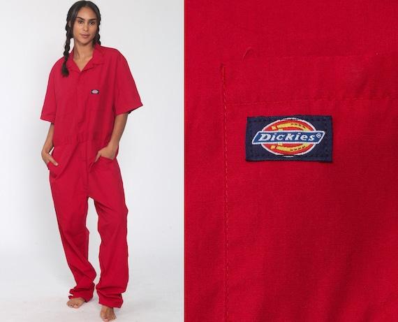 Dickies Coveralls Pants Red Jumpsuit Workwear One Piece Work Wear Short Sleeve Grunge Onesie Vintage Pantsuit Men's 44 Tall Large