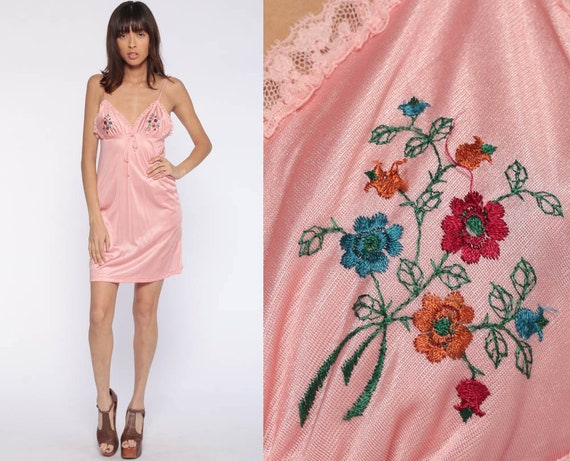 Pink Babydoll Nightgown Dress Embroidered Pastel Lingerie Slip Dress 70s Nightgown Mini Pin Up Deep V Neck 1970s Vintage Extra Small xs