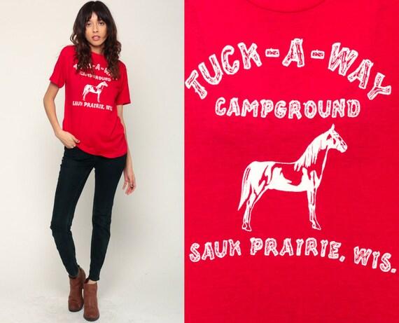 Camping Shirt TUCK-A-WAY CAMPGROUND 80s Tshirt Graphic T Shirt Vintage Horse Shirt Red Hipster Paper Thin 1980s Retro Medium