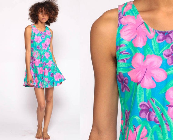 Tropical Floral Dress 80s Mini Summer Bohemian Sundress Hot Pink Hibiscus Hawaiian Drop Waist Vintage 1980s Sleeveless Extra Small xs xxs