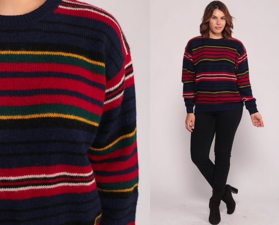Striped Sweater WOOL Sweater 80s Slouch Grunge Knit Retro Blue Red Stripe Print 1980s Vintage Retro Large