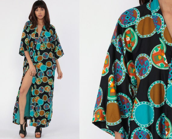 70s Geometric Robe 1970s Bohemian Dressing Gown Wrap Tribal Print Maxi Boho Hippie Black Blue Vintage Retro Festival Small Medium