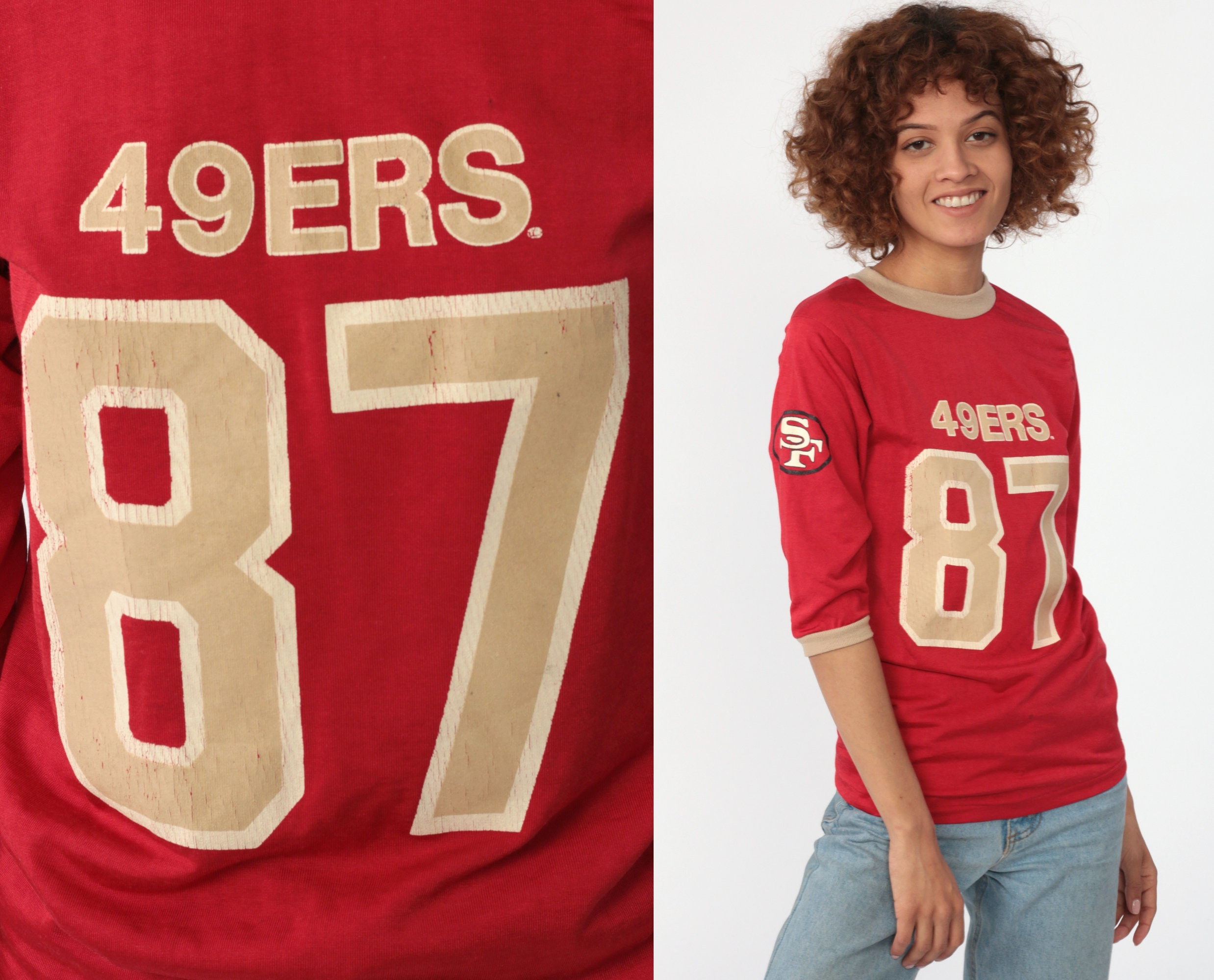 official photos dfc2e ac549 49ers Shirt Football Tshirt San Francisco 80s NFL T Shirt Football Jersey  87 Dwight Clark California Tee Sports Vintage Retro Extra Small xs