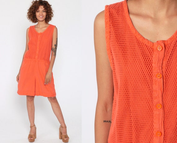 80s Romper Playsuit Neon Orange MESH Summer One Piece Jumpsuit Shorts Bright Cotton Sleeveless 90s Button Up Energie Vintage Retro Small