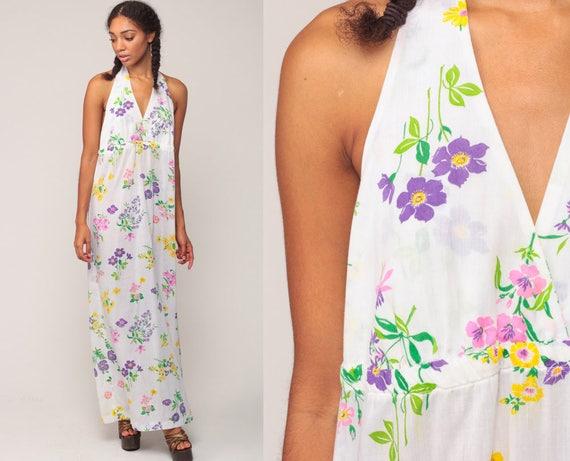 White Floral Dress Halter Neck 70s Maxi Summer Boho 1970s Hippie Backless Bohemian Deep V Sundress Vintage Sun Dress Large