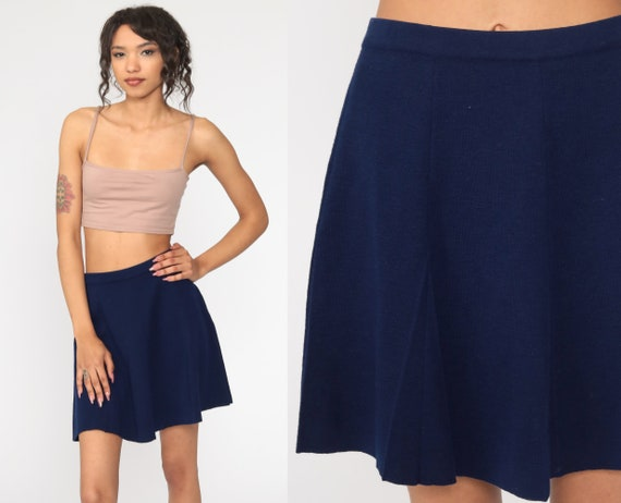 Pleated Wool Skirt Navy Blue Skirt Wool School Girl Mini High Waisted 70s Preppy Plain Retro Vintage Lolita 1970s Small